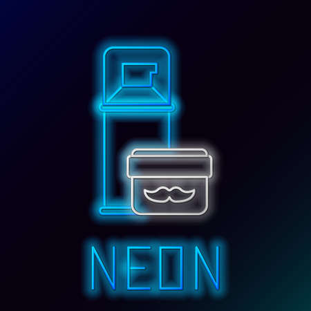 Glowing neon line Shaving gel foam icon isolated on black background. Shaving cream. Colorful outline concept. Vector