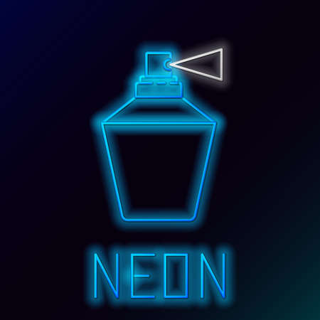 Glowing neon line Perfume icon isolated on black background. 8 March. International Happy Women Day. Colorful outline concept. Vector