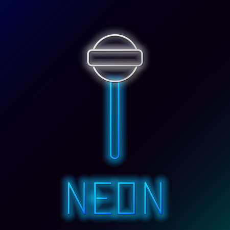 Glowing neon line Lollipop icon isolated on black background. Food, delicious symbol. Colorful outline concept. Vector