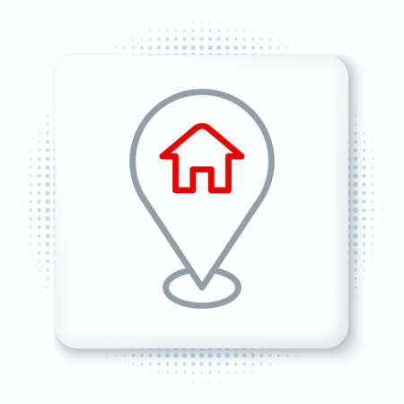 Line Map pointer with house icon isolated on white background. Home location marker symbol. Colorful outline concept. Vector