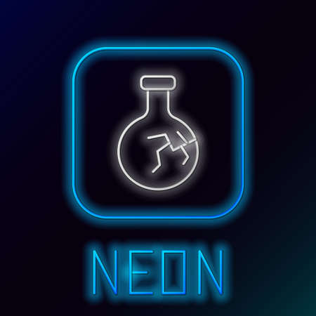 Glowing neon line Cracked test tube and flask chemical laboratory test icon isolated on black background. Laboratory glassware sign. Colorful outline concept. Vector