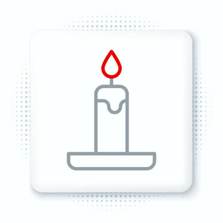 Line Burning candle in candlestick icon isolated on white background. Cylindrical candle stick with burning flame. Colorful outline concept. Vector