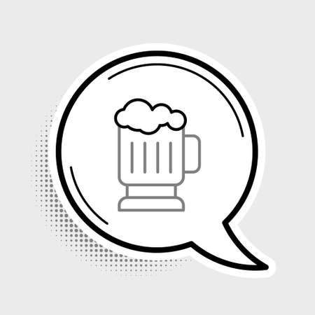 Line Wooden beer mug icon isolated on grey background. Colorful outline concept. Vector