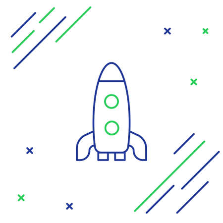 Line Rocket ship icon isolated on white background. Space travel. Colorful outline concept. Vector Çizim