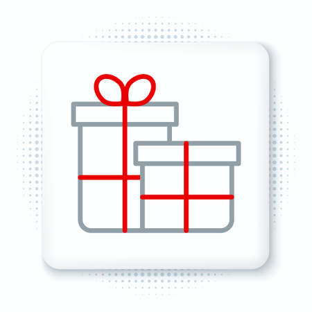 Line Gift box icon isolated on white background. Merry Christmas and Happy New Year. Colorful outline concept. Vector