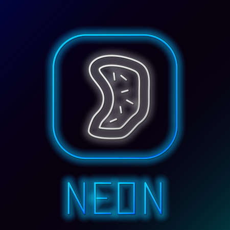 Glowing neon line Bacteria icon isolated on black background. Bacteria and germs, microorganism disease causing, cell cancer, microbe, virus, fungi. Colorful outline concept. Vector Çizim
