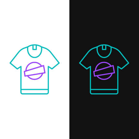 Line T-shirt icon isolated on white and black background. Colorful outline concept. Vector