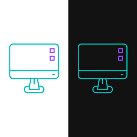 Line Computer monitor screen icon isolated on white and black background. Electronic device. Front view. Colorful outline concept. Vector