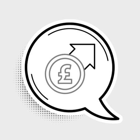 Line Financial growth and pound sterling coin icon isolated on grey background. Increasing revenue. Colorful outline concept. Vector