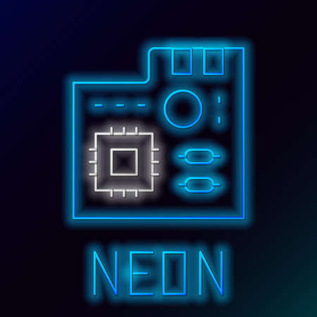 Glowing neon line Electronic computer components motherboard digital chip integrated science icon isolated on black background. Circuit board. Colorful outline concept. Vector