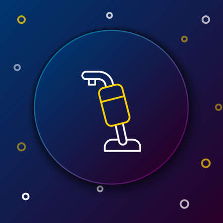 Line Vacuum cleaner icon isolated on blue background. Colorful outline concept. Vector Çizim