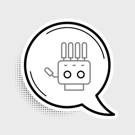 Line Mechanical robot hand icon isolated on grey background. Robotic arm symbol. Technological concept. Colorful outline concept. Vector