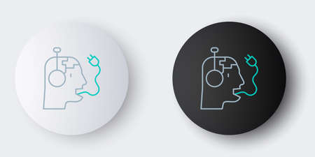 Line Robot charging battery icon isolated on grey background. Artificial intelligence, machine learning, cloud computing. Colorful outline concept. Vector