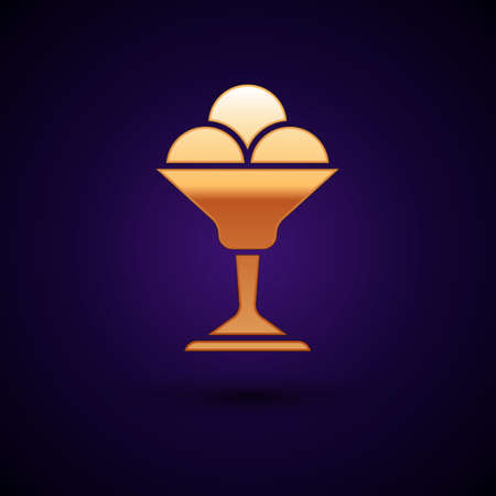 Gold Ice cream in the bowl icon isolated on black background. Sweet symbol. Vector