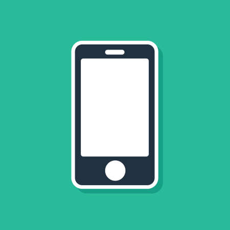 Blue Smartphone, mobile phone icon isolated on green background. Vector Illustration