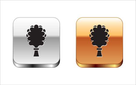 Black Sauna broom icon isolated on white background. Broom from birch twigs, branches for Russian steam bath, sauna, washhouse. Silver-gold square button. Vector Çizim