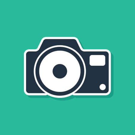 Blue Photo camera icon isolated on green background. Foto camera icon. Vector