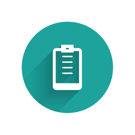 White Clipboard with checklist icon isolated with long shadow. Control list symbol. Survey poll or questionnaire feedback form. Green circle button. Vector