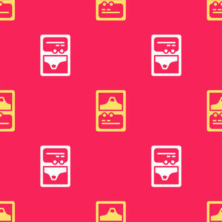 Yellow Card game collection icon isolated seamless pattern on red background. Fantasy ui kit with magic items. Vector