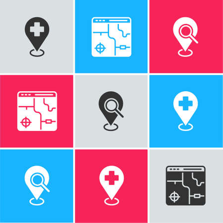 Set Medical location with cross, Infographic of city map and Search icon. Vector