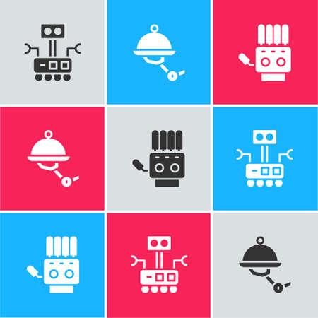 Set Robot, Waiter robot and Mechanical hand icon. Vector