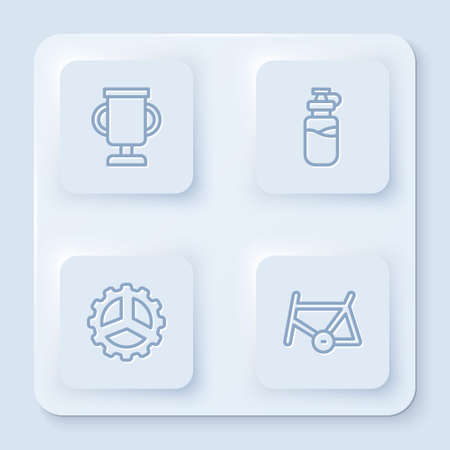 Set line Award cup with bicycle, Sport bottle water, Bicycle sprocket crank and frame. White square button. Vector