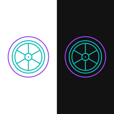 Line Bicycle wheel icon isolated on white and black background. Bike race. Extreme sport. Sport equipment. Colorful outline concept. Vector