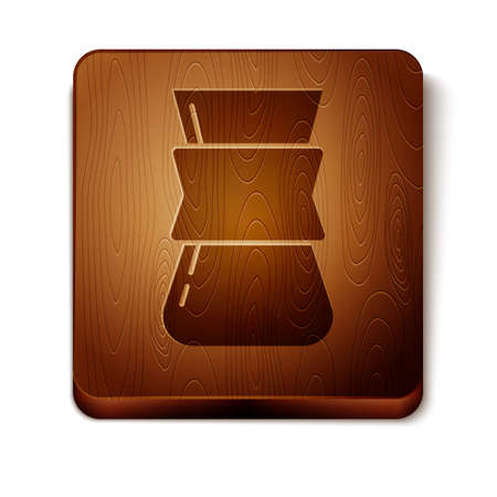 Brown Coffee turk icon isolated on white background. Wooden square button. Vector