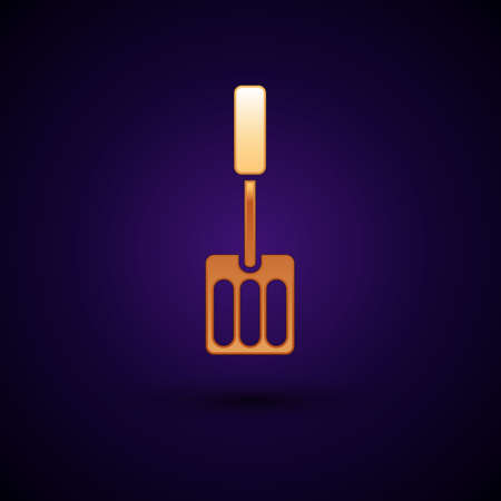 Gold Spatula icon isolated on black background. Kitchen spatula icon. BBQ spatula sign. Barbecue and grill tool. Vector Vecteurs