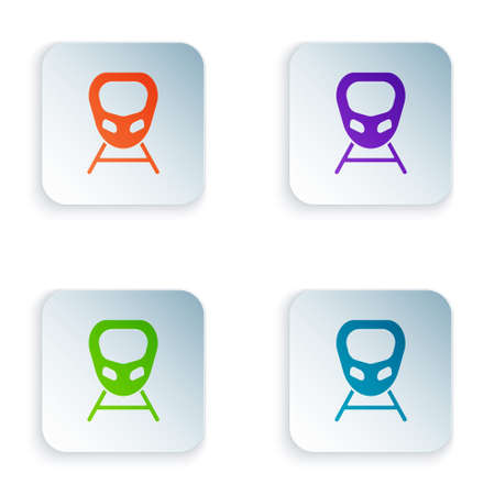 Color High-speed train icon isolated on white background. Railroad travel and railway tourism. Subway or metro streamlined fast train transport. Set colorful icons in square buttons. Vector