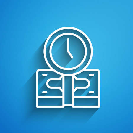 White line Time is money icon isolated on blue background. Money is time. Effective time management. Convert time to money. Long shadow. Vector Vektoros illusztráció