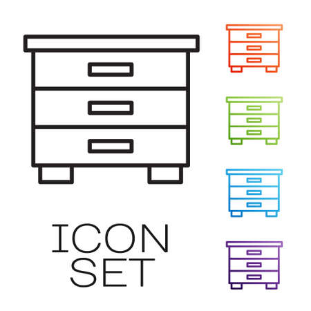 Black line Furniture nightstand icon isolated on white background. Set icons colorful. Vector