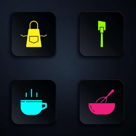 Set Kitchen whisk and bowl, apron, Coffee cup and Spatula. Black square button. Vector Vecteurs