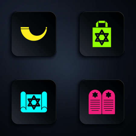 Set Tombstone with star of david, Traditional ram horn, shofar, Torah scroll and Shopping bag. Black square button. Vector Vektorové ilustrace