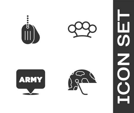 Set Military helmet, dog tag, army and Brass knuckles icon. Vector