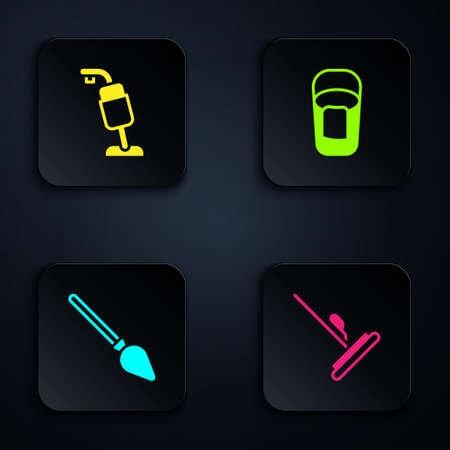 Set Mop, Vacuum cleaner, Handle broom and Bucket with rag. Black square button. Vector 矢量图片