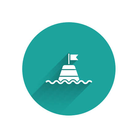 White Floating buoy on the sea icon isolated with long shadow. Green circle button. Vector