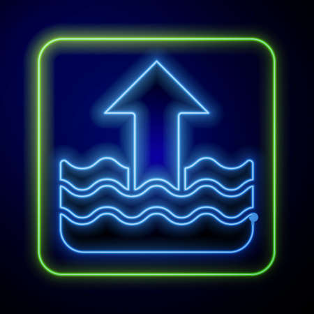 Glowing neon Rise in water level icon isolated on blue background. Vector