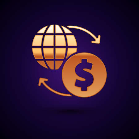 Gold Money exchange icon isolated on black background. Dollar cash transfer symbol. Banking currency sign. Vector