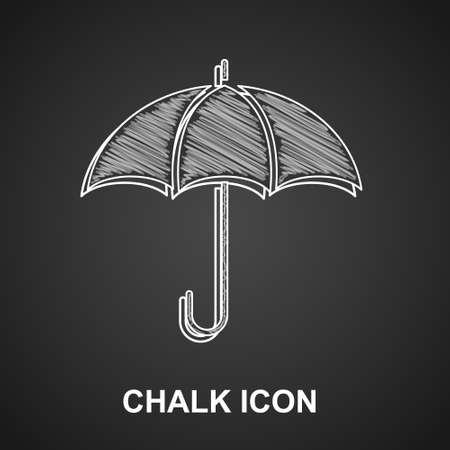 Chalk Umbrella icon isolated on black background. Insurance concept. Waterproof icon. Protection, safety, security concept. Vector Vetores