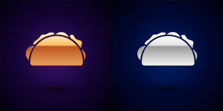 Gold and silver Taco with tortilla icon isolated on black background. Traditional mexican fast food menu. Vector