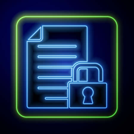 Glowing neon Document and lock icon isolated on blue background. File format and padlock. Security, safety, protection concept. Vector