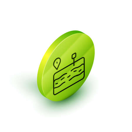Isometric line Broken road icon isolated on white background. Green circle button. Vector