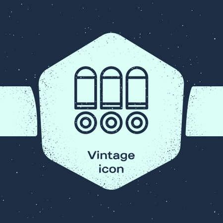 Grunge line Bullet icon isolated on blue background. Monochrome vintage drawing. Vector Векторная Иллюстрация