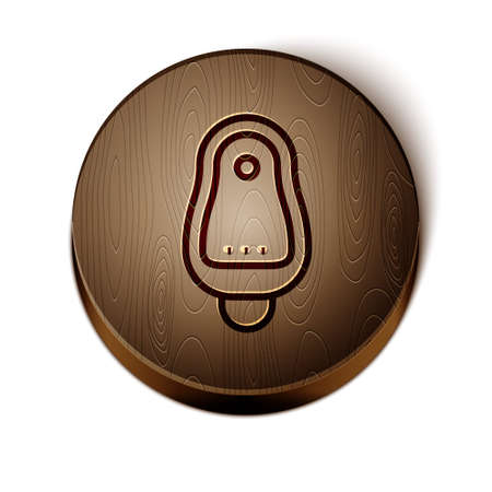 Brown line Toilet urinal or pissoir icon isolated on white background. Urinal in male toilet. Washroom, lavatory, WC. Wooden circle button. Vector