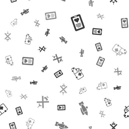 Set Medical clipboard, Fish, Ambulance and emergency car and No doping syringe on seamless pattern. Vector