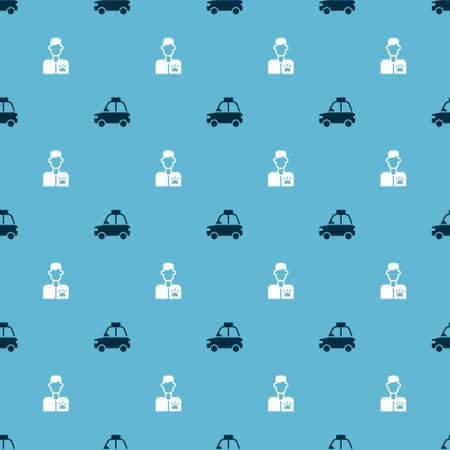Set Pet car taxi and Veterinarian doctor on seamless pattern. Vector Vector Illustration