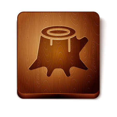 Brown Tree stump icon isolated on white background. Wooden square button. Vector Vetores