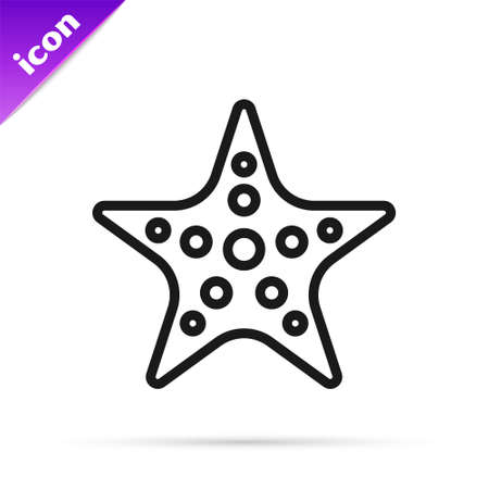 Black line Starfish icon isolated on white background. Vector