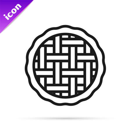 Black line Homemade pie icon isolated on white background. Vector Vetores